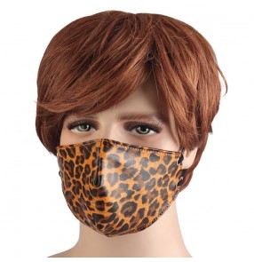 Leopard punk rock style dust proof face mask for women and men drama cosplay masquerade jazz dance masks