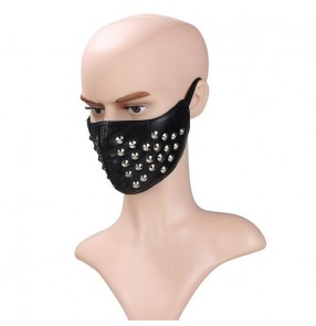 Men's punk rock pole dance rivet leather facemasks night club performance video cosplay masks