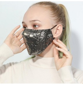 Reusable face mask for women gold black sequin fashion dust proof mouth mask