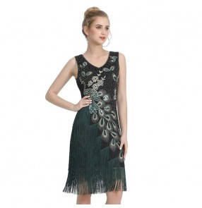 Women's party performance fringes sequins dress singers host tassels jazz dance dresses