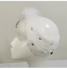ballet dance white Swan lake competition feather headdress for kids and women ballet dance hair accessories