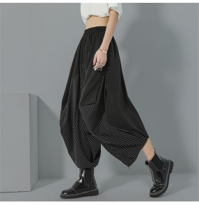 Women's fashion plus size harem pants striped dropped croth personality wide leg length pants loose Culottes for female