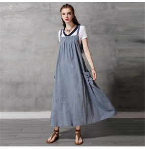 Women's fashion plus size strap dresses pocket casual plus size retro personality loose style long dresses