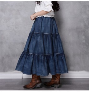 Women's fashion denim tiered skirts retro casual long length skirts for female