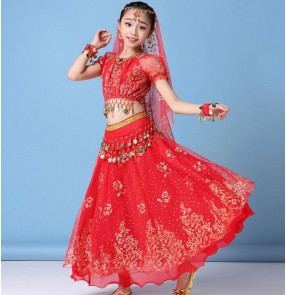 red pink Indian dance costumes for kids belly dance skirt children Xinjiang performance dress for girls