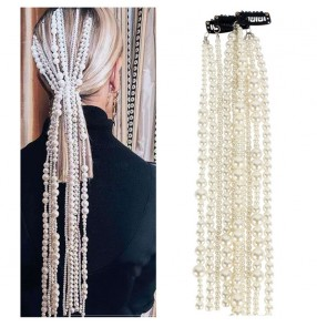 women ABS imitation pearl fashion tassel hair chain for singers stage performance night club pole dance hair accessories