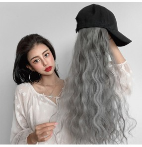 Women's hip hop street dance baseball cap with fashion curly faux hair wig for female gogo dancers fashion wig