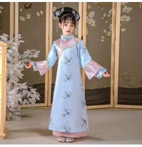 Girls' Chinse ancient Qing Dynasty court princess empress film cosplay dress Manchu costumes photos shooting long-sleeved robes children's Chinese Hanfu