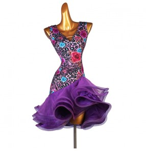 Violet leopard flowers latin dance dress for women girls stage performance competition salsa rumba chacha dance dress