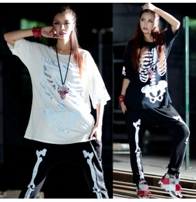 Street dance hip-hop style loose long short-sleeved long sleeves for women T-shirt trendy female hip-hop show Halloween reflective skull top