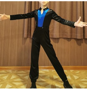 Boy's Black with blue velvet latin dance shirts and pants ballroom dance tops stage performance chacha dance tops and pants latin dance costumes