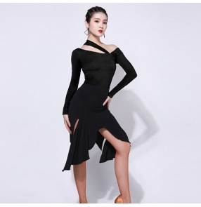Women black Latin dance skirt dress art test suit competition suit irregular skirts professional performance suit body training suit