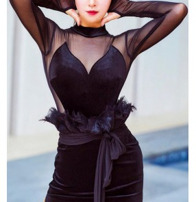 Black velvet Latin dance practice clothes for women Long-sleeved ballroom dance body tops high-neck sexy see trough back standard rumba chacha dance jumpsuits