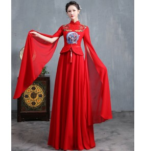 Women Chinese dresses traditional Cheongsam oriental retro qipao dresses catwalk singers host performance costume miss etiquette model show dresses