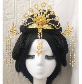 Women Chinese traditional Ancient folk Costume Hanfu empress princess stage performance Headdress Tang Song Ming Dynasty Queen Faiqy cosplay Phoenix Tassel Hairpin for woman
