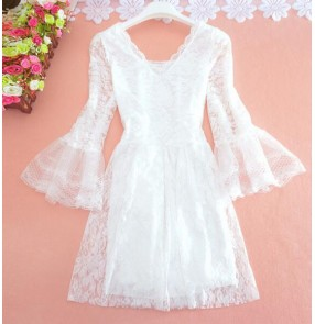 Black white lace  see through v neck fashion sexy long sleeves girls women's one size dresses