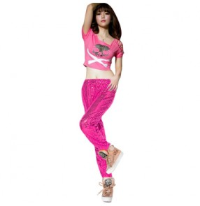 Red black fuchsia hot pink gold silver blue yellow sequins skull pattern women's female fashion jazz singer dj hip hop ds dancing costumes outfits