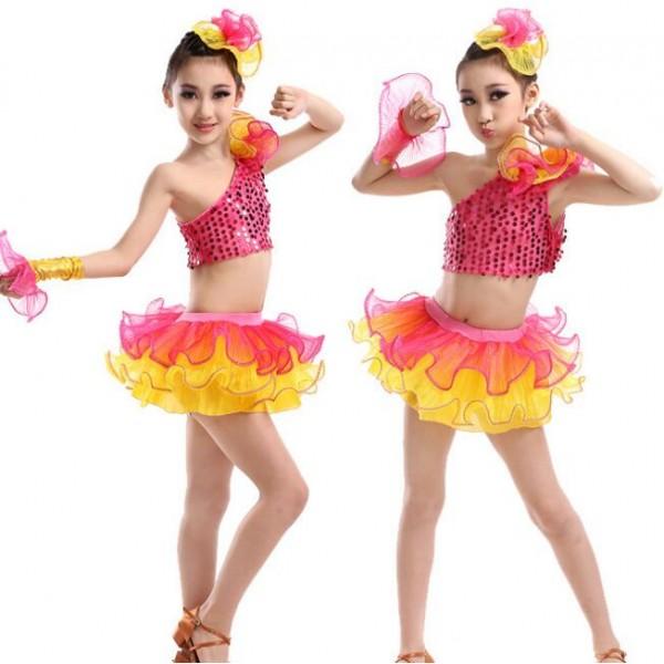 a01c48911 Hot pink fuchsia yellow patchwork sequined girls kids children modern dance  performance jazz dance school play dance outfits costumes