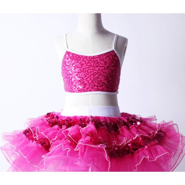 694cfcc5cf04b Turquoise blue fuchsia hot pink sequins girls kids split set children  modern performance ballet leotard tutu dance dresses outfits
