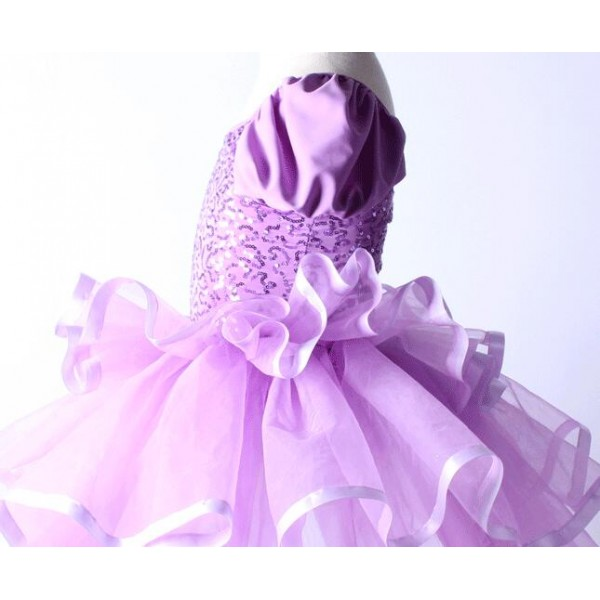 9156719ad2a4f Violet purple sequins short sleeves round neck girls kids children modern  performance ballet leotard tutu outfits dresses