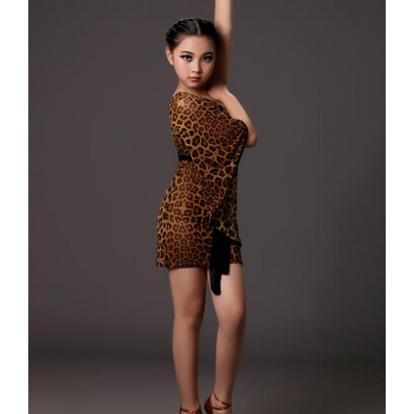 7b7c3a210808 Brown leopard printed one shoulder loose sleeves girls kids children sexy  competition performance latin dance dresses outfits
