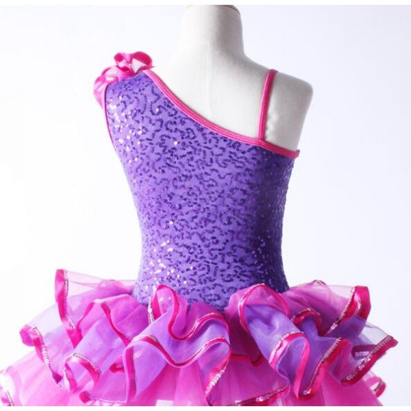 Violet purple hot pink fuchsia patchwork sequins one for Clases de gimnasia