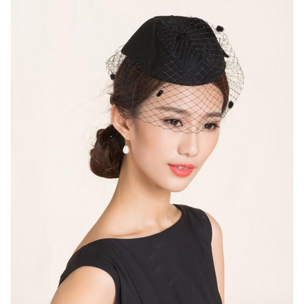 3bebf68c6 Black purple violet bowknot 100% wool handmade vintage fashion evening  wedding party bridals performance fascinators veil pillbox top hats fedoras  ...