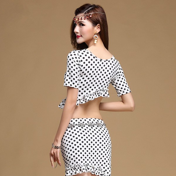 0ef677ddadc7 White black polka dot printed short sleeves round neck women's ladies  female sexy fashion competition performance professional belly dance  costumes outfits ...