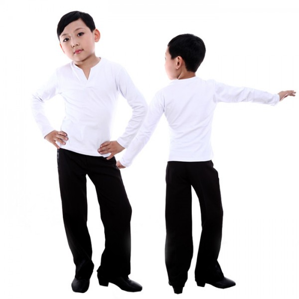 79f76418cef3e Black white v neck long sleeves boys kids child children baby competition  performance professional latin ballroom tango waltz dance dancing top and  ...