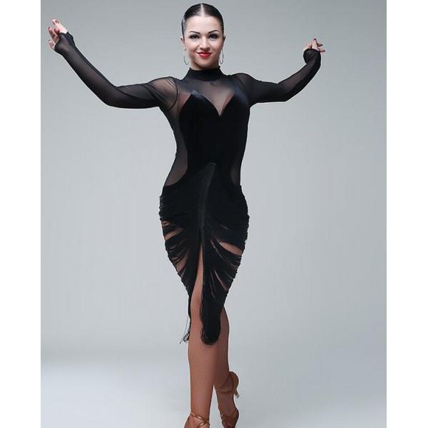 e4120b1272 Black velvet tulle patchwork tutle neck long sleeves tassels sexy fashion  back split women s professional competition latin salsa ballroom dance  dresses ...
