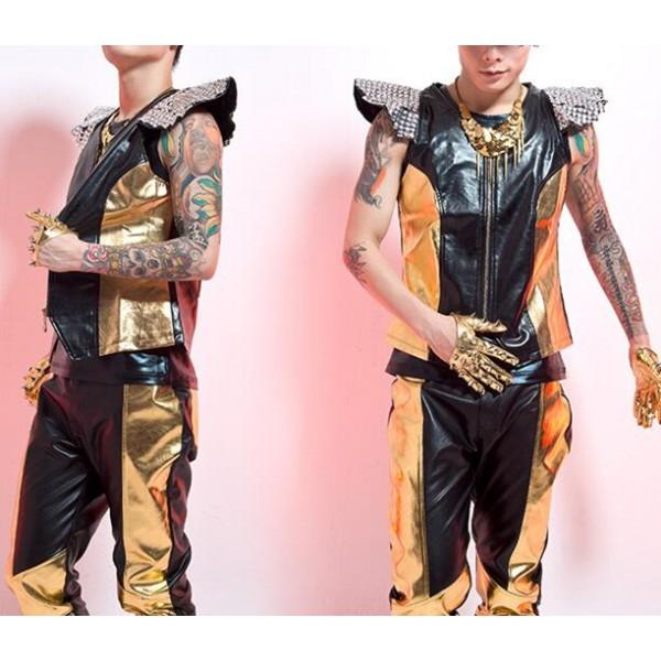 Black and gold patchwork rhinestones shrug shoulder zipper open ...