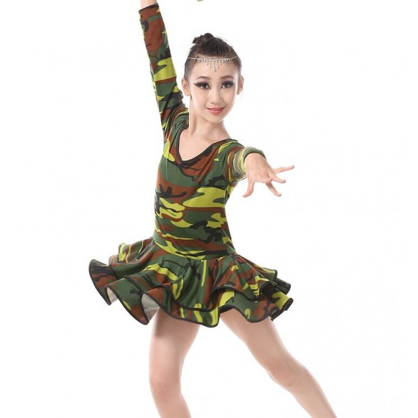 Army green camouflage printed round neck long sleeves girls kids children leotards stage performance competition latin salsa dance dresses outfits  sc 1 st  Aokdress.com & Army green camouflage printed round neck long sleeves girls kids ...
