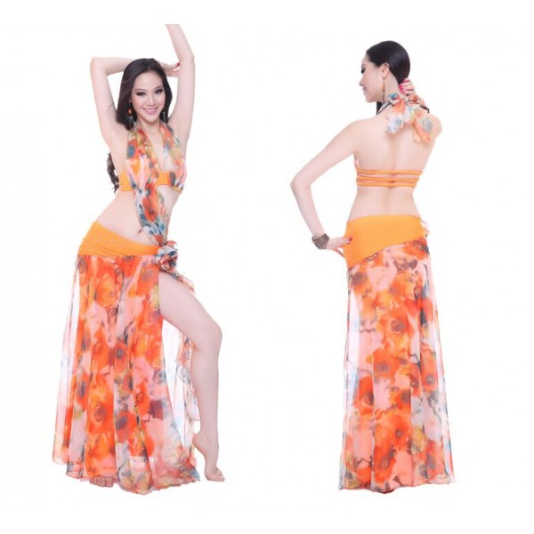 bc095716e Green orange red white floral printed women's stage performance Indian  Egypt sexy fashion belly dance dresses set top bra and skirt