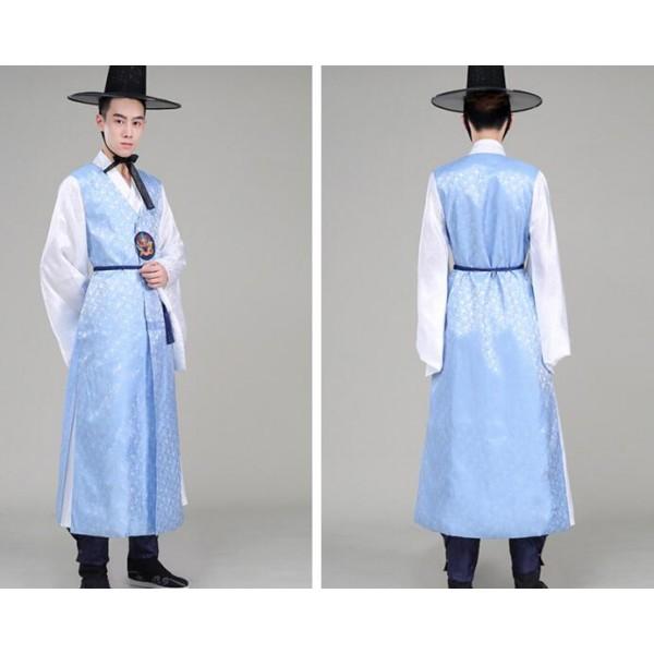Light Blue Navy Men S Male Long Length Traditional Hanbok Korean
