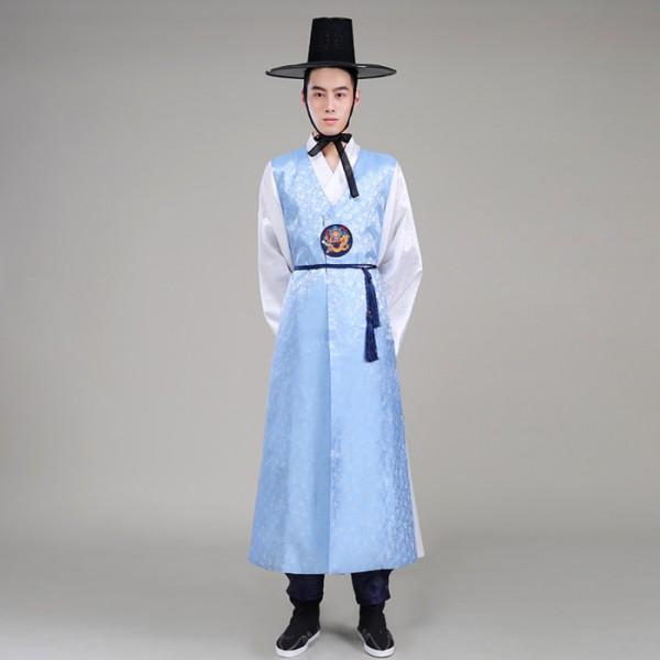 Light Blue Navy Menu0026#39;s Male Long Length Traditional Hanbok Korean Palace Wedding Party Cos Play ...