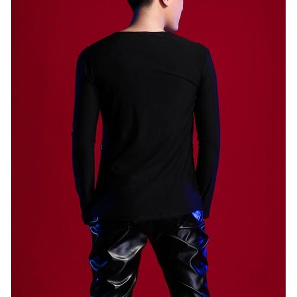 Black Sequins Spandex Patchwork Hollow Shoulder Fashion