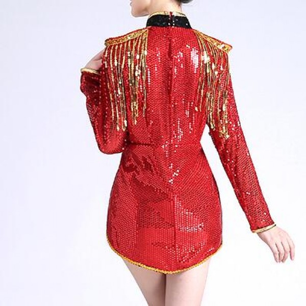 1af0ed483a Black red gold sequins long sleeves women s ladies female fashion sexy  stage performance jazz ds singer hip hop dance dresses outfits