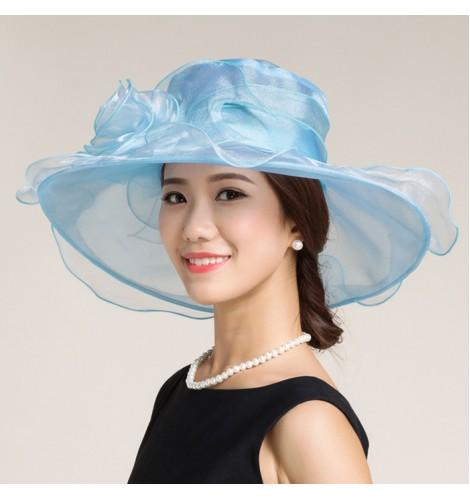 Black white light blue turquoise organza large brim floppy handmade women s  female fashion wedding dresses evening party bridal church hats sun hats  fedoras ... 91a9919ea868