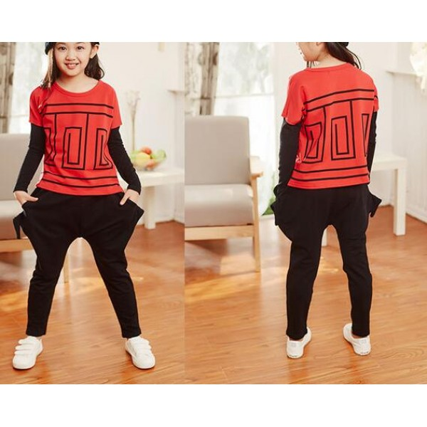 b1dadb719e792 Red white patchwork long sleeves tops and harem pants fashion girls t show  school play hip hop jazz dancing costumes outfits