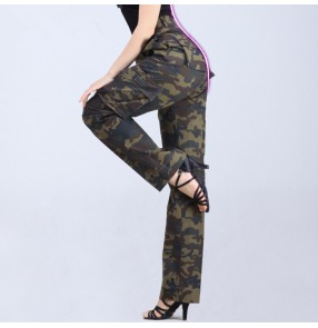 Army green camouflage black striped wide legs straight women's ladies female multi pockets fashion professional ballroom latin dance pants trousers
