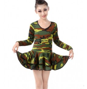 Army green camouflage printed round neck long sleeves girls kids children leotards stage performance competition latin salsa dance dresses outfits