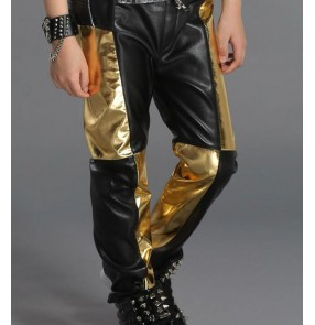 Black and gold black and red patchwork long length boys girls kids children stage  stage performance jazz hip hop drummers play dancing pants trousers
