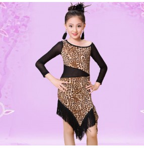 Black and leopard patchwork see through long sleeves waist competition performance school play girls kids children latin ballroom salsa dance dresses skirts outfits