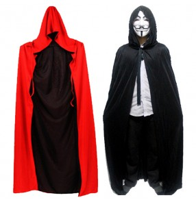 Black and red double layers patchwork long length hoodies women's men's witch wizard vampires Christmas Halloween party performance costumes cloaks robes  outfits