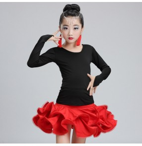 Black and red  fuchsia hot pink long sleeves spandex girls kids children practice gymnastics competition performance latin ballroom dance dresses sets