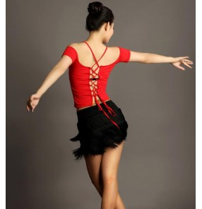Black and red leopard fringes tassels back with bandage backless short sleeves women's ladies female competition professional latin samba salsa dance dresses outfits sets