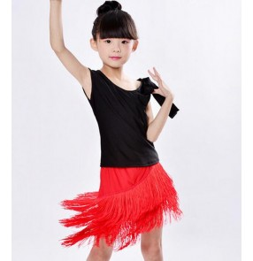 Black and red patchwork fringes tassels skirts split set  girls kids children spandex competition performance gymnastics practice latin ballroom salsa dance dresses outfits costumes