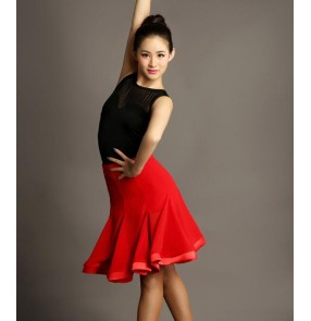Black and red patchwork leotards top and skirts women's competition stage performance latin ballroom tango dancing dance dresses sets