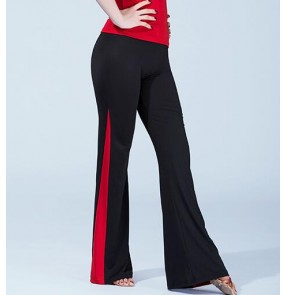 Black and red patchwork long length women's ladies female competition swing latin salsa cha cha dance pants