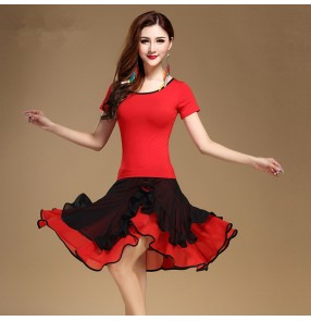 Black and red patchwork short sleeves girls women's ladies competition stage performance latin salsa cha cha samba rumba dance dresses outfit split sets